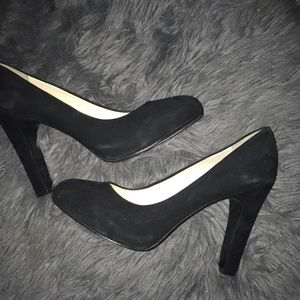 Black Suede Nine West Block Heel